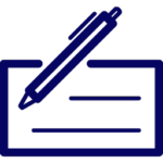 pen and check icon dark blue - checking accounts