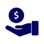 money symbol floating above hand - loans icon dark blue