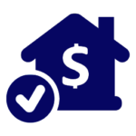 house with money symbol - mortgagest icon dark blue