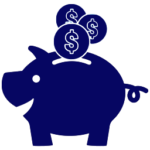 piggy bank savings icon dark blue