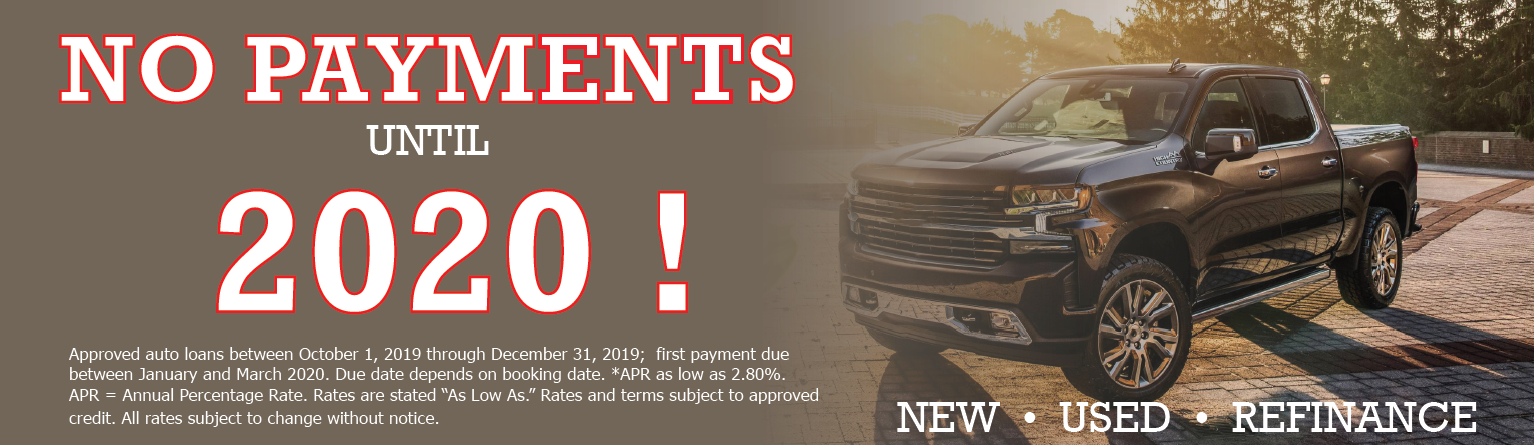 Auto loan offer for no payments until 2020