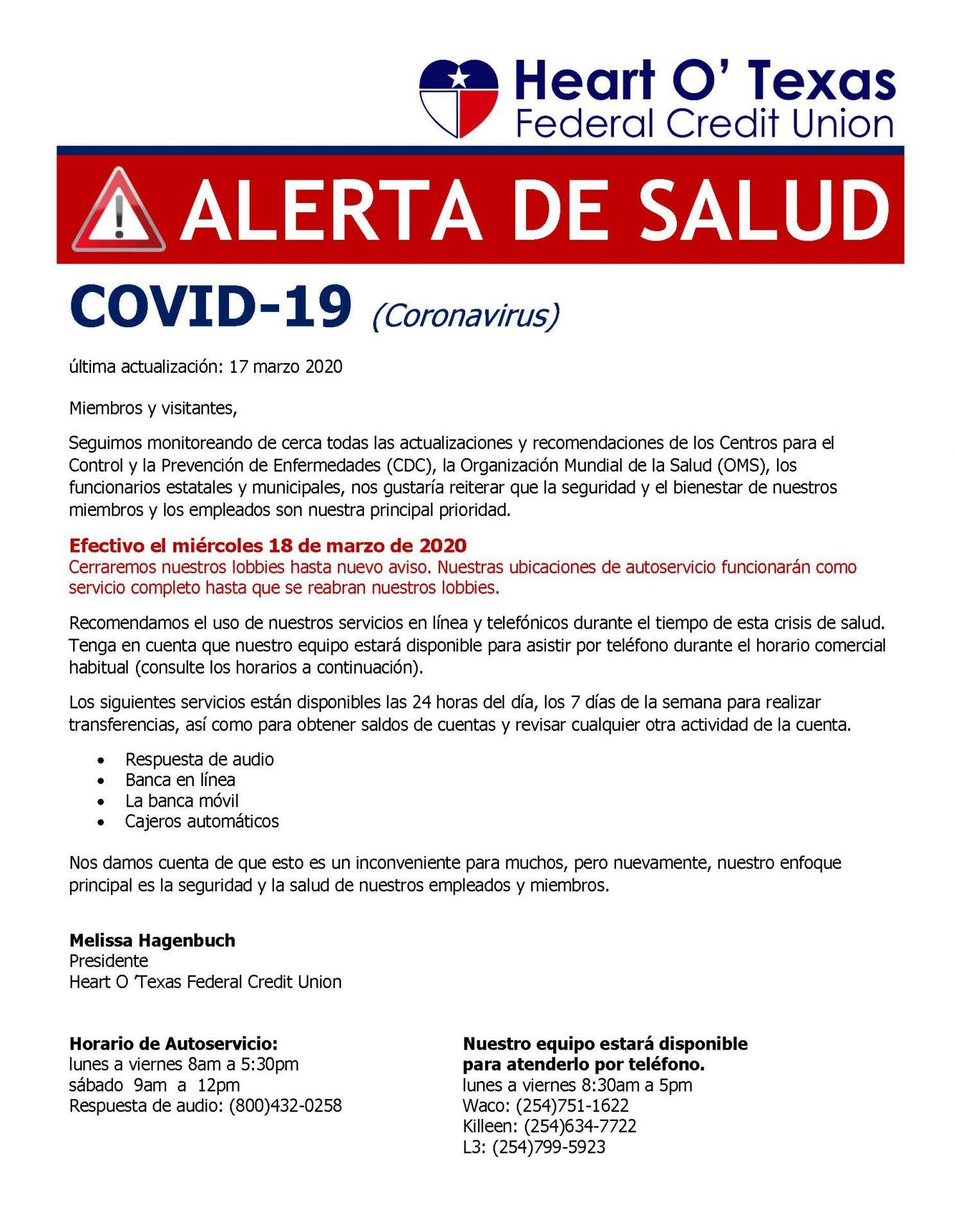 COVID-19 Alert Spanish 2020