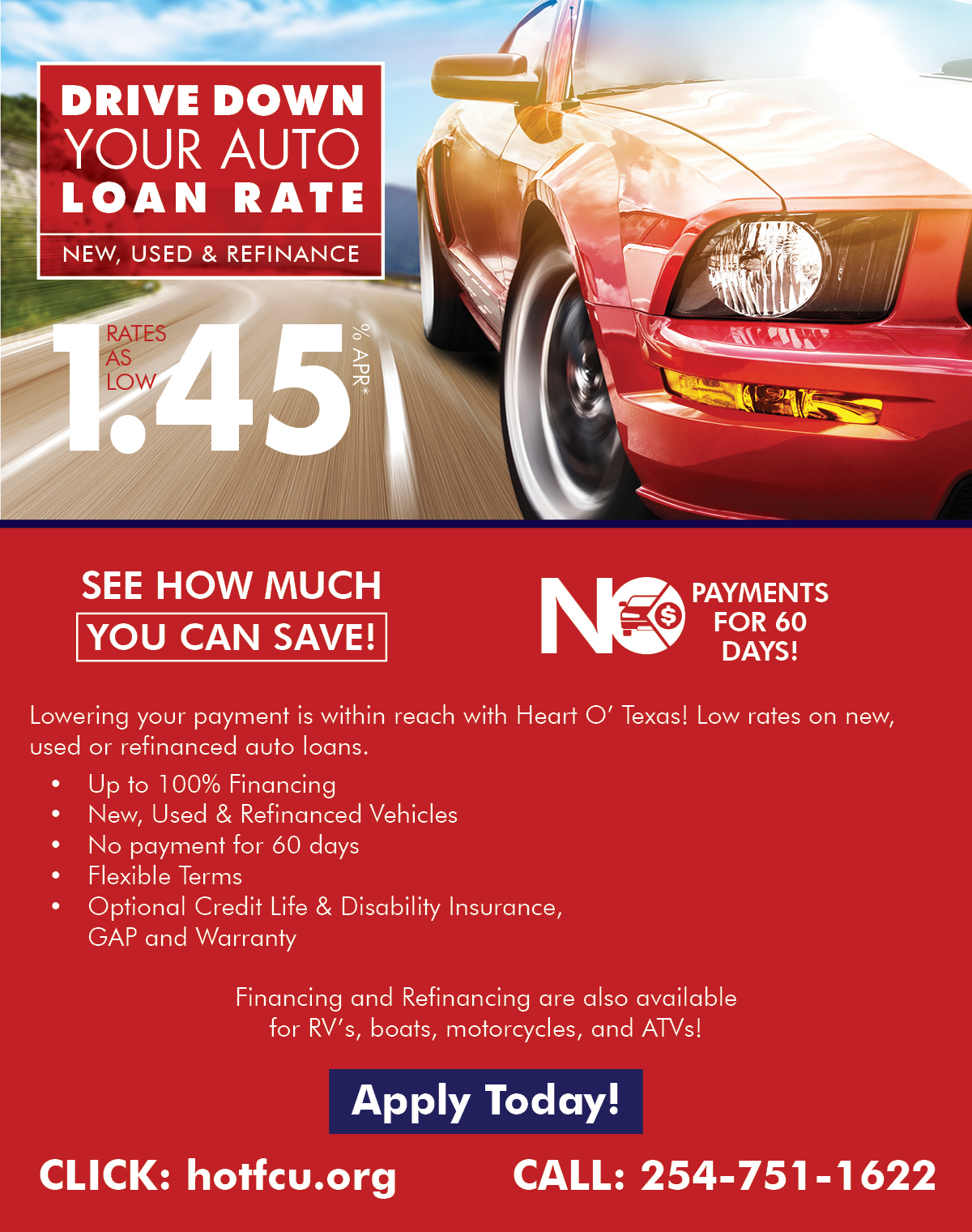 Heart O' Texas Federal Credit Union - Drive Down Your Auto Lone Rate - New, Used, Refinance Auto Loans Waco, Texas